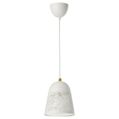 SOLSKUR pendant lamp white/brass-colour 13 W 21 cm 1.6 m