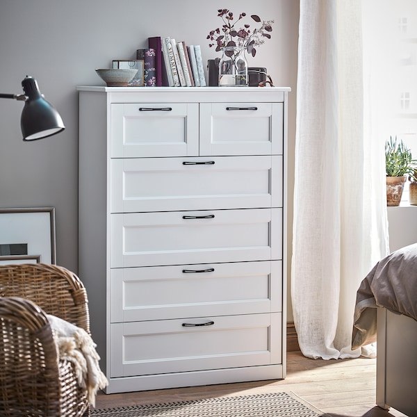 SONGESAND Chest of 6 drawers, white, 82x126 cm