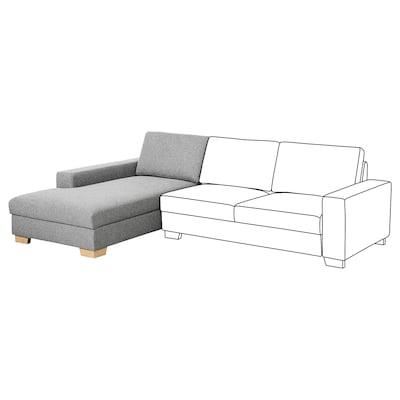SÖRVALLEN Chaise longue section, left/Lejde grey/black