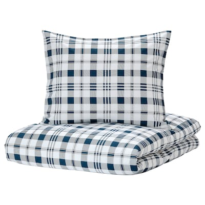 SPIKVALLMO Quilt cover and 2 pillowcases, white blue/check, 200x200/60x70 cm