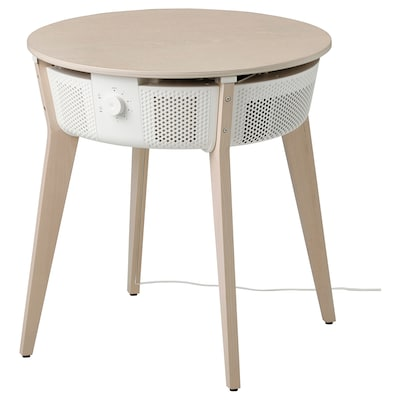 STARKVIND Table with air purifier, stained oak veneer/white