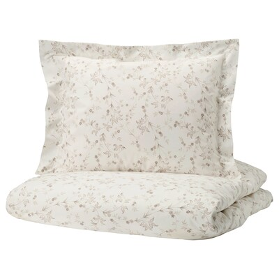 STRANDFRÄNE Quilt cover and 2 pillowcases, white/light beige, 200x200/60x70 cm