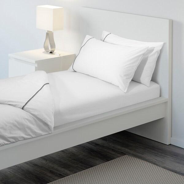 STRANDLOKA Fitted sheet, white, 90x200 cm