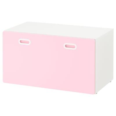 STUVA / FRITIDS bench with toy storage white/light pink 90 cm 50 cm 50 cm