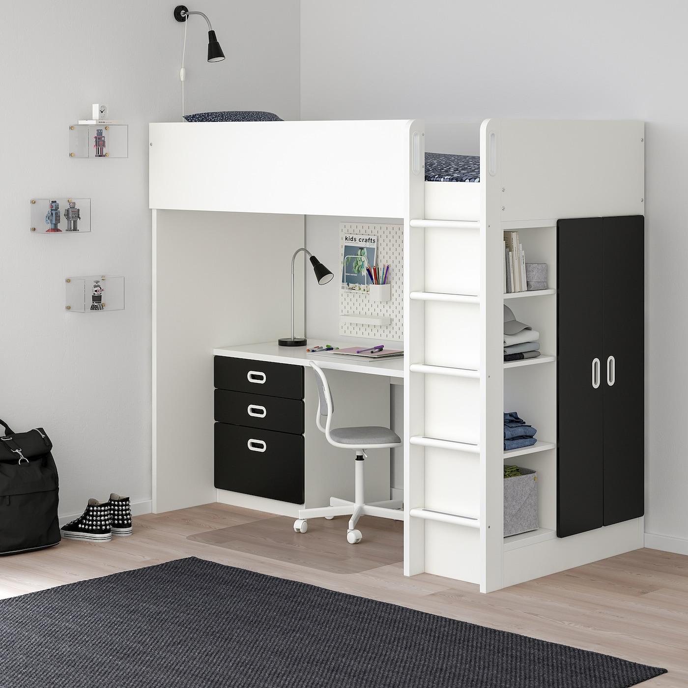 STUVA / FRITIDS loft bed combo w 3 drawers/2 doors white/blackboard surface 155 cm 62 cm 74 cm 182 cm 142 cm 99 cm 207 cm 100 kg 200 cm 90 cm 20 cm