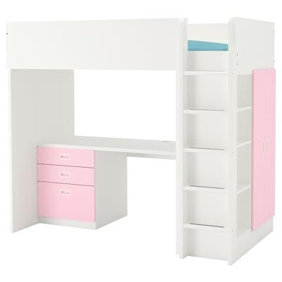 STUVA / FRITIDS loft bed combo w 3 drawers/2 doors white/light pink 155 cm 62 cm 74 cm 182 cm 142 cm 99 cm 207 cm 100 kg 200 cm 90 cm 20 cm