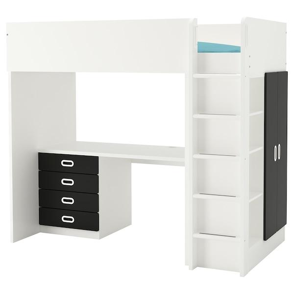 STUVA / FRITIDS loft bed combo w 4 drawers/2 doors white/blackboard surface 155 cm 62 cm 74 cm 182 cm 142 cm 99 cm 207 cm 100 kg 200 cm 90 cm 20 cm