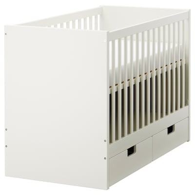 STUVA / STUVA MÅLAD cot with drawers white 126 cm 66 cm 86 cm 60 cm 120 cm 20 kg