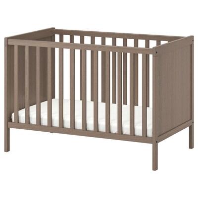 SUNDVIK Cot, grey-brown, 60x120 cm
