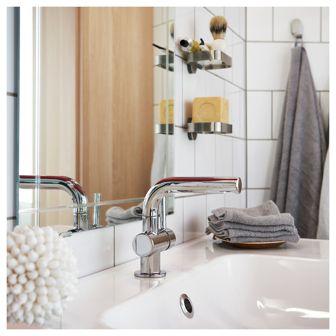 SVENSKÄR Wash-basin mixer tap with strainer - chrome-plated