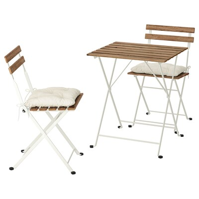 TÄRNÖ table+2 chairs, outdoor white/light brown stained/Kuddarna beige