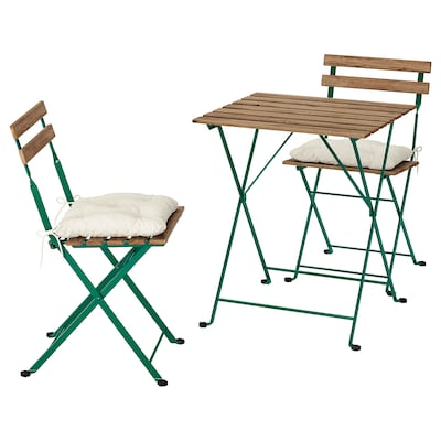 TÄRNÖ table+2 chairs, outdoor dark green/light brown stained/Kuddarna beige