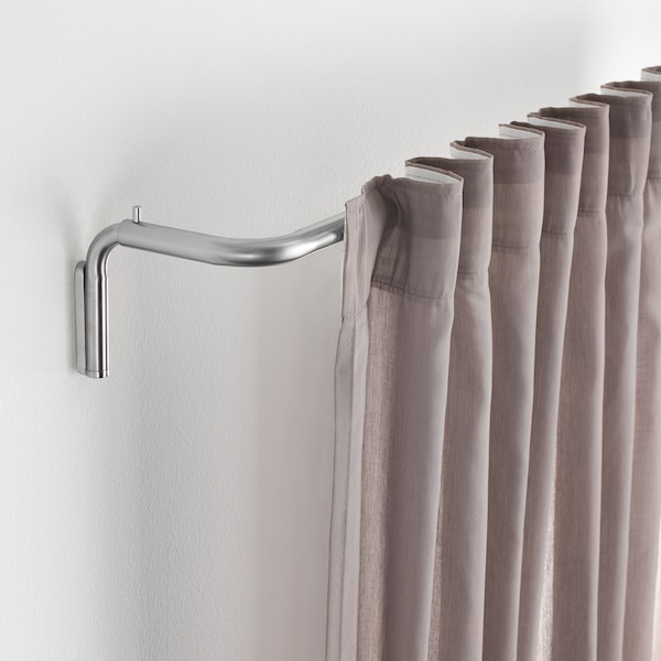 TIDPUNKT Curtain rod set, nickel-plated, 120-210 cm