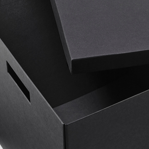 TJENA Storage box with lid, black, 35x50x30 cm