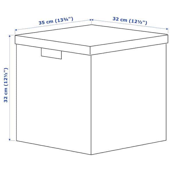 TJENA Storage box with lid, flower/light green, 32x35x32 cm