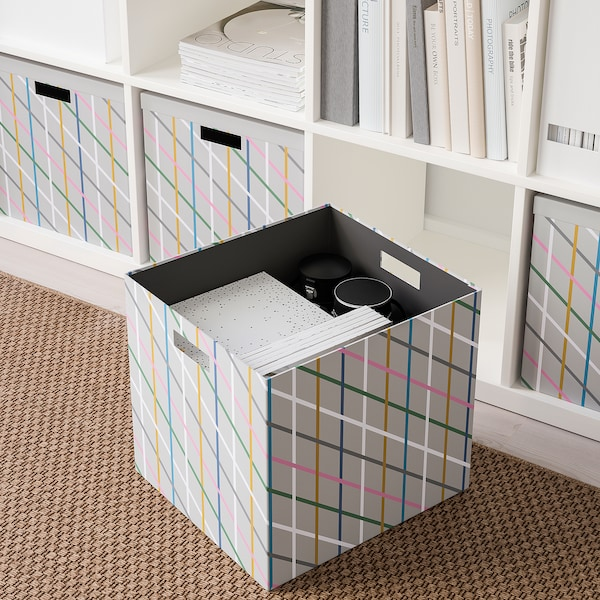 TJENA Storage box with lid, grey multicolour/paper, 32x35x32 cm