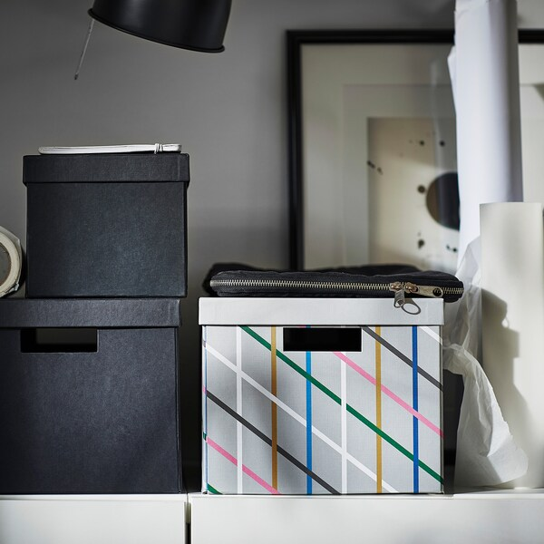 TJENA Storage box with lid, grey multicolour/paper, 25x35x20 cm