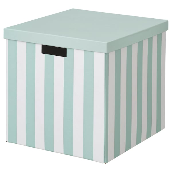 TJENA Storage box with lid, light blue stripe, 32x35x32 cm