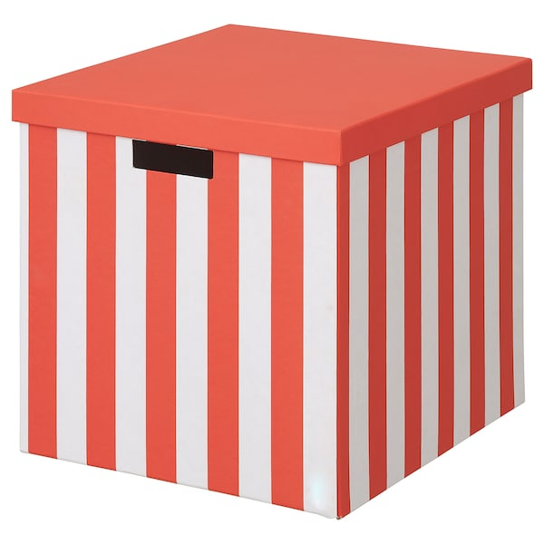 TJENA Storage box with lid, orange stripe, 32x35x32 cm