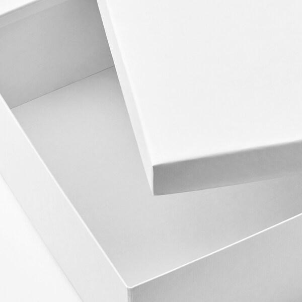 TJENA Storage box with lid, white, 25x35x10 cm