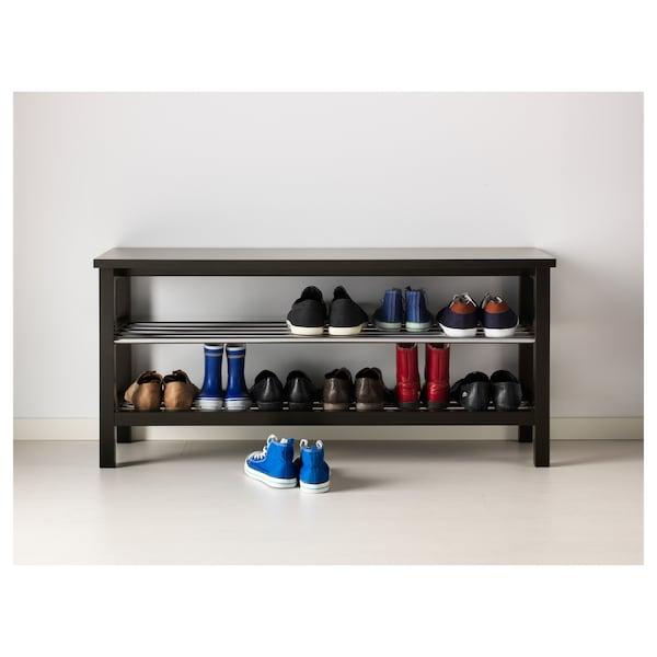 TJUSIG Bench with shoe storage, black, 108x50 cm