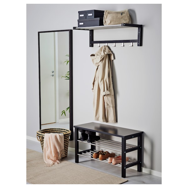 TJUSIG Bench with shoe storage, black, 81x50 cm