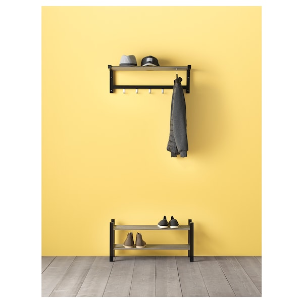 TJUSIG Shoe rack, black, 79 cm