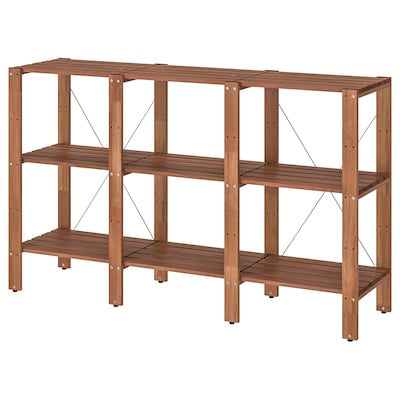 TORDH Shelving unit, outdoor, brown stained, 210x35x90 cm