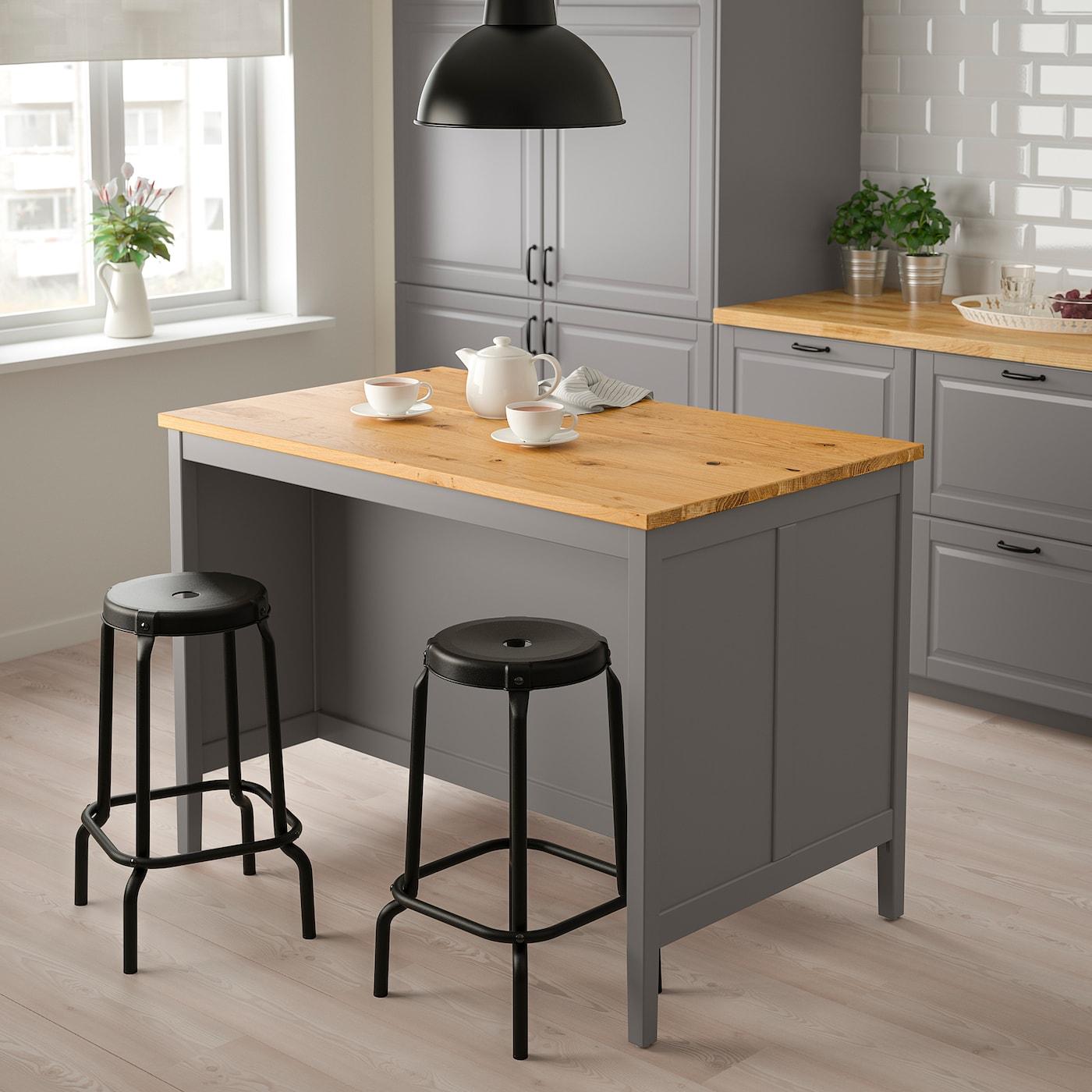 TORNVIKEN Kitchen island, grey/oak, 126x77 cm