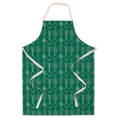 TORVFLY Apron, patterned/green, 68x90 cm