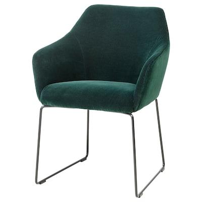 TOSSBERG Chair, metal black/velvet green