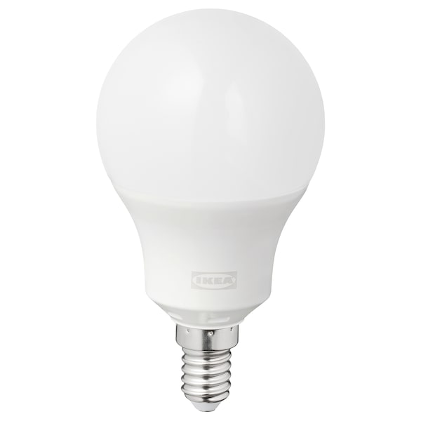 TRÅDFRI LED bulb E14 470 lumen, wireless dimmable colour and white spectrum/globe opal white
