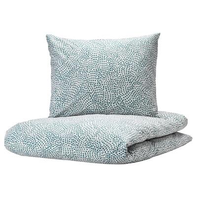 TRÄDKRASSULA Duvet cover and pillowcase, white/blue, 140x200/60x70 cm
