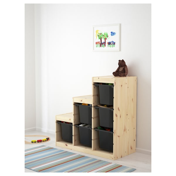 TROFAST Storage combination, light white stained pine/black, 94x44x91 cm
