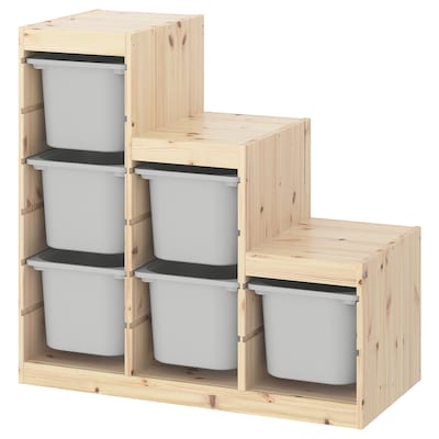 TROFAST storage combination light white stained pine/grey 94 cm 44 cm 91 cm