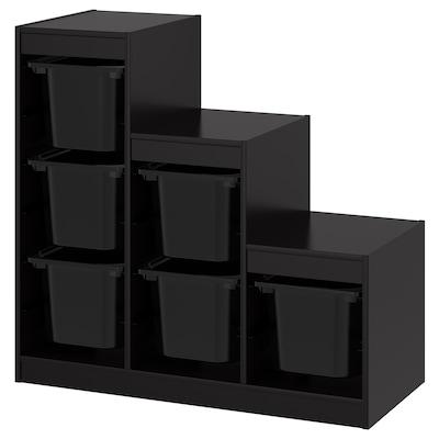 TROFAST Storage combination with boxes, black, 99x44x94 cm