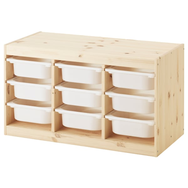 TROFAST Storage combination with boxes, light white stained pine/white, 94x44x52 cm