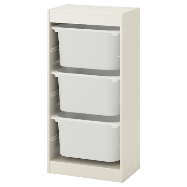 TROFAST Storage combination with boxes, white/white, 46x30x94 cm