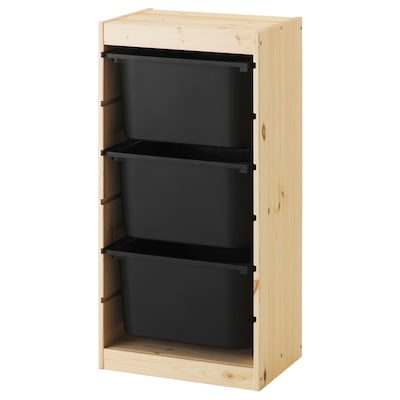 TROFAST storage combination with boxes light white stained pine/black 44 cm 30 cm 91 cm