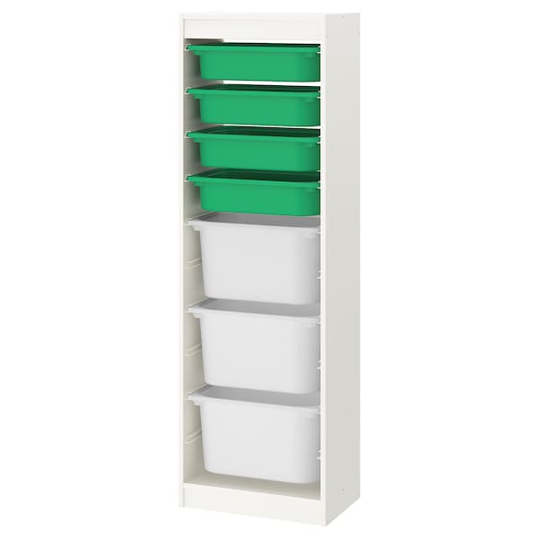 TROFAST storage combination with boxes white/green white 46 cm 30 cm 145 cm