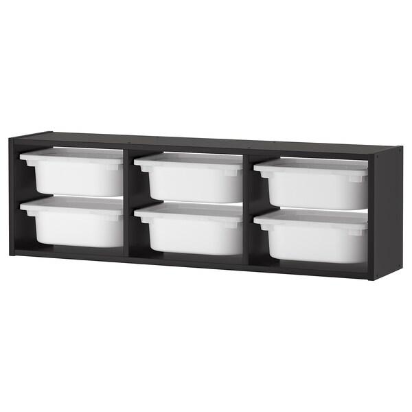 TROFAST Wall storage, black/white, 99x21x30 cm