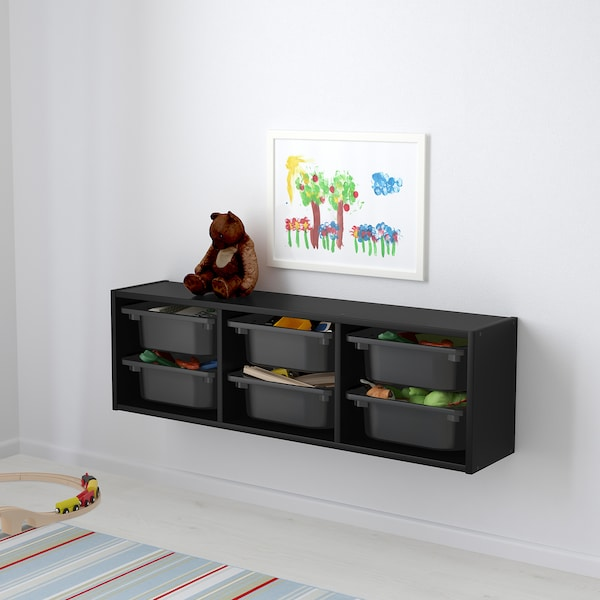 TROFAST Wall storage, black, 99x21x30 cm