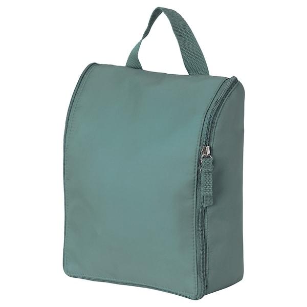 TROLLFJORDEN Toiletry bag, light grey-green