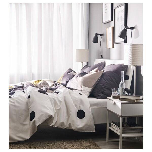 TRYSIL Bedside table, white/light grey, 45x40 cm