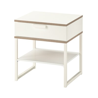 TRYSIL Bedside table, white/light grey, 45x40 cm