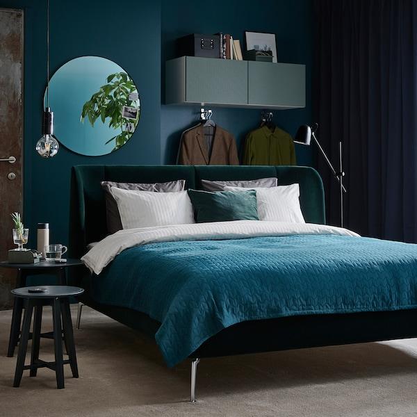 TUFJORD Upholstered bed frame, Djuparp dark green, 160x200 cm