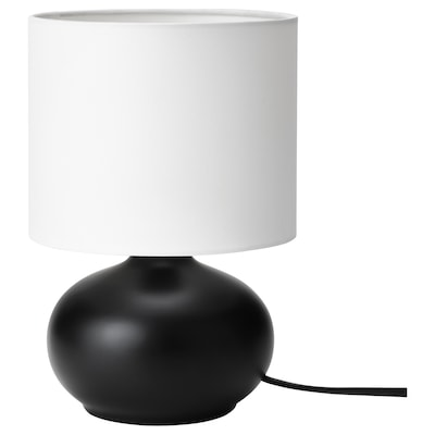 TVÄRFOT Table lamp, black/white
