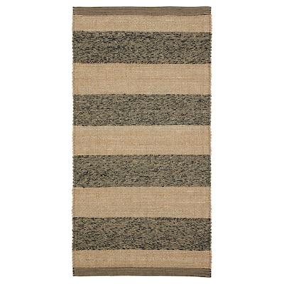UGILT Rug, flatwoven, black/beige, 80x150 cm