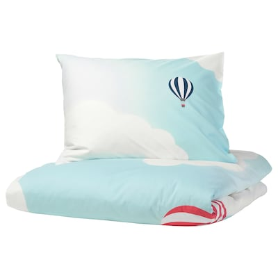 UPPTÅG quilt cover and pillowcase air balloon pattern/blue 200 cm 140 cm 60 cm 70 cm