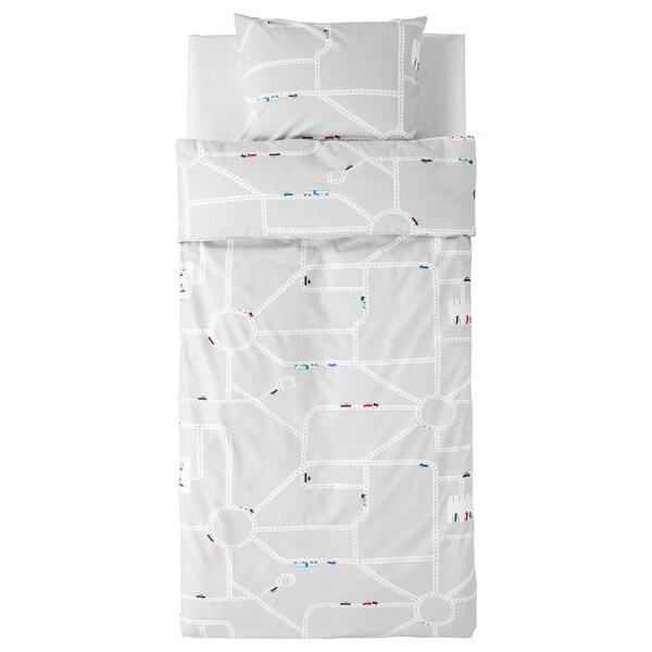 UPPTÅG quilt cover and pillowcase cars/roads pattern/grey 200 cm 140 cm 60 cm 70 cm